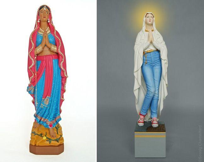 La Vierge Marie versions Bollywood et jean-baskets.