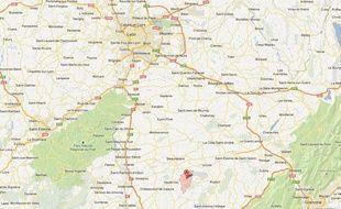Google Map de Grand-Serre (Drôme), réalisée le 22 février 2013.