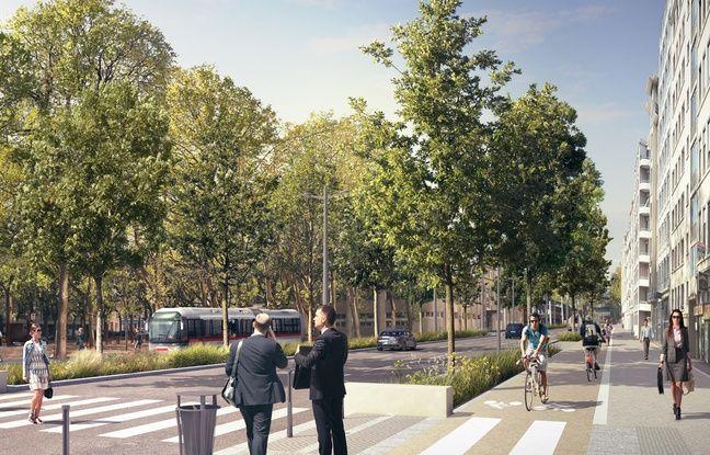 Vue de la rue Garibaldi, sur la seconde portion qui doit être requalifiée entre mai 2016 et fin 2017 à Lyon.