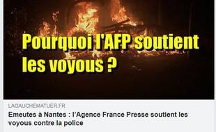 L'article à charge contre l'AFP s'appuie sur des reprises parcellaires ou orientées de la dépêche.