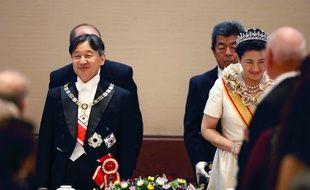 L'empereur Naruhito et l'impératrice Masako, lors du banquet de la cérémonie d'intronisation du nouvel empereur du Japon, à la cour impériale de Tokyo, le 22 octobre 2019.