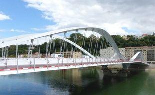 Lyon, le 27 août 2014. Visite de chantier du pont Schuman en construction sur la Saone à Lyon. Cet ouvrage, en projet depuis des dizaines d'années entre le 4e et le 9e arrondissement, doit être mis en service en octobre 2014.