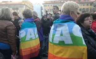 Des militants ont sorti le même drapeau que Geneviève Legay portait lorsqu'elle a chuté.