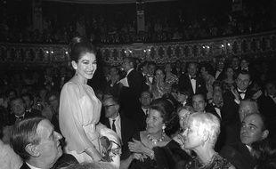 Maria Callas, le 5 janvier 1966 au théâtre de l'Odéon theater à Paris pendant la première du «Barbier de Séville».