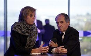 Noël Le Graët et la directrice marketing de la FFF Florence Hardouin, le 12 décembre 2015 lors de l'Assemblée générale de la Fédération française de football.