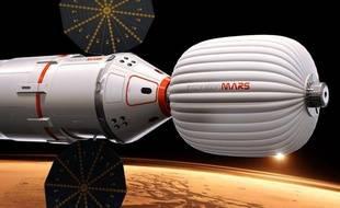 Vue d'artiste du vaisseau devant mener un couple marié vers la planèteMars en janvier 2018.