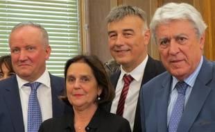 Toulouse, le 28 septembre 2014 - Pierre Medevielle (à gauche), Brigitte Micouleau (UMP) et le sortant Alain Chatillon (UDI, à droite), les trois sénateurs élus sur la liste UMP-UDI.