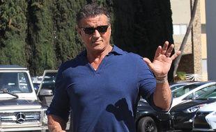 L'acteur et cinéaste Sylvester Stallone dans les rues de Los Angeles