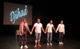 Florian Chauvet, Samir Kadi, Helmi Dridi et Adel Djemai, les acteurs de la pièce « Djihad », le 25 avril 2017 au Théâtre Garonne de Toulouse.