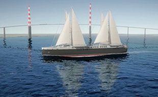 Image de synthèse du premier cargo à voiles construit par Neoline et Neopolia.
