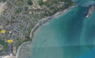 Vue aérienne de Cancale où le corps d'une femme a été retrouvé entre les pointes du Hock et de la Chaîne.