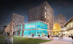 Image de synthèse du projet de l'enseigne Cultura, mené par Bouygues Immobilier pour l'opération Coeur de Ginko à Bordeaux.
