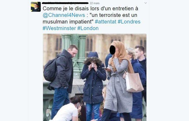 L'image détournée d'une jeune femmes musulmane sur le pont de Westminster après l'attaque de Londres.