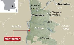 Localisation de Montélimar dans la Drôme.