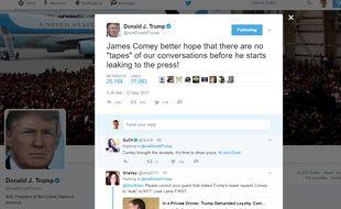 Un tweet de Donald Trump publié deux jours après le limogeage du directeur du FBI James Comey.