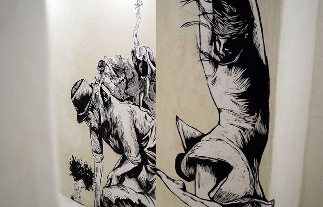 Les travaux de l'artiste Olivia Paroldi dans les couloirs de l'ancienne morgue du Suquet