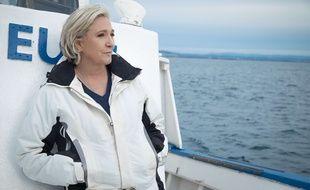 Marine Le Pen à bord d'un bateau de pêche le 27 avril dernier, au Grau-du-Roi.