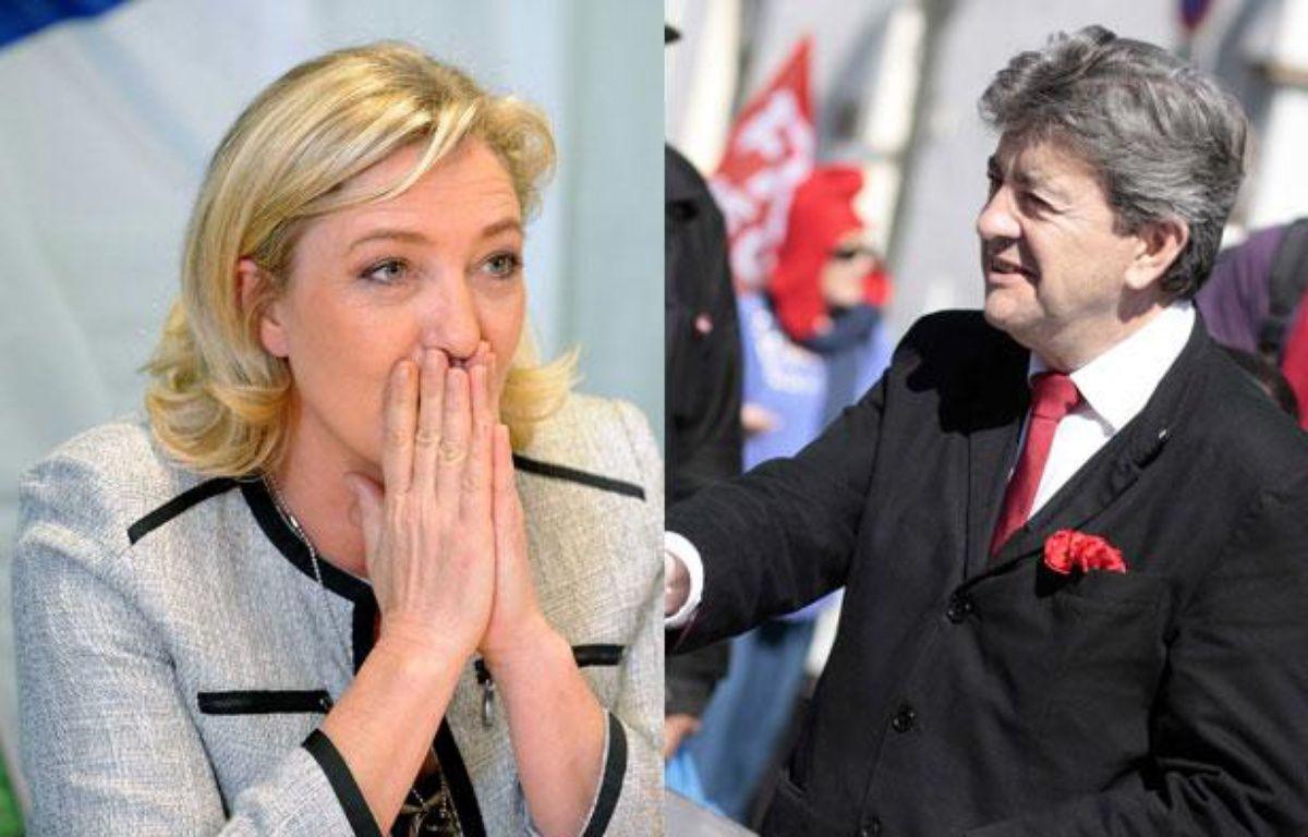 Montage photo: Marine Le Pen et Jean-Luc Mélenchon, le 25 mai 2012. – POL EMILE/BAZIZ CHIBANE/SIPA