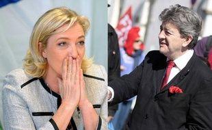 Montage photo: Marine Le Pen et Jean-Luc Mélenchon, le 25 mai 2012.