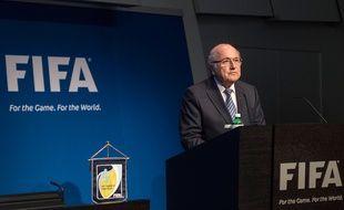 Sepp Blatter, président de la Fifa, lors de l'annonce de sa démission, le 2 juin 2015, à Zurich.