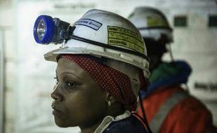 Bernice Motsieloa, chef de quart dans la mine sud africaine de Bathopele (170 kilomètres de Johannesbourg), le 11 juin 2015