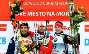Le Norvégien Emil Hegle Svendsen, déjà champion du monde de relais mixte jeudi, a remporté l'épreuve de sprint des Championnats du monde 2013 de biathlon, disputée samedi à Nove Mesto