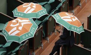 Les matchs ont été interrompus par la pluie à Roland-Garros, le 6 juin 2017.