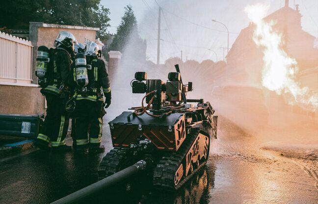 Un robot colossus en intervention avec les pompiers