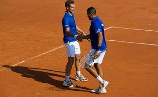 Jo-Wilfried Tsonga et Richard Gasquet, le 14 septembre 2014 à Roland-Garros.