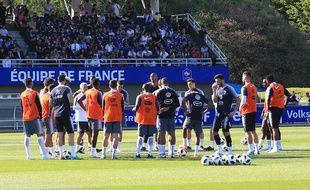 L'équipe de France en pleine préparation à la Coupe du monde, à Clairefontaine, le 24 mai 2018.