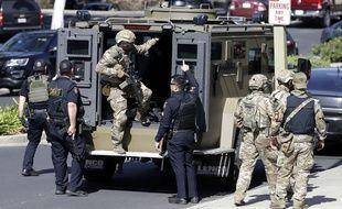 La police est intervenue au siège de YouTube, à San Bruno, en Californie, après une situation de «tireur actif», le 3 avril 2018.