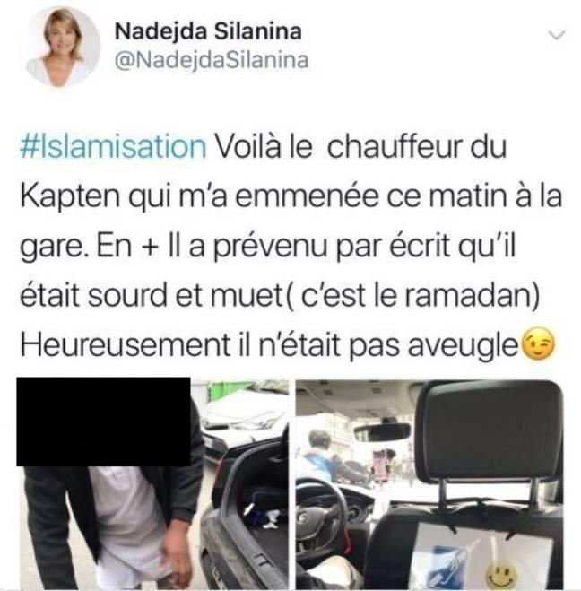 Le tweet écrit par Nadejda Silania.