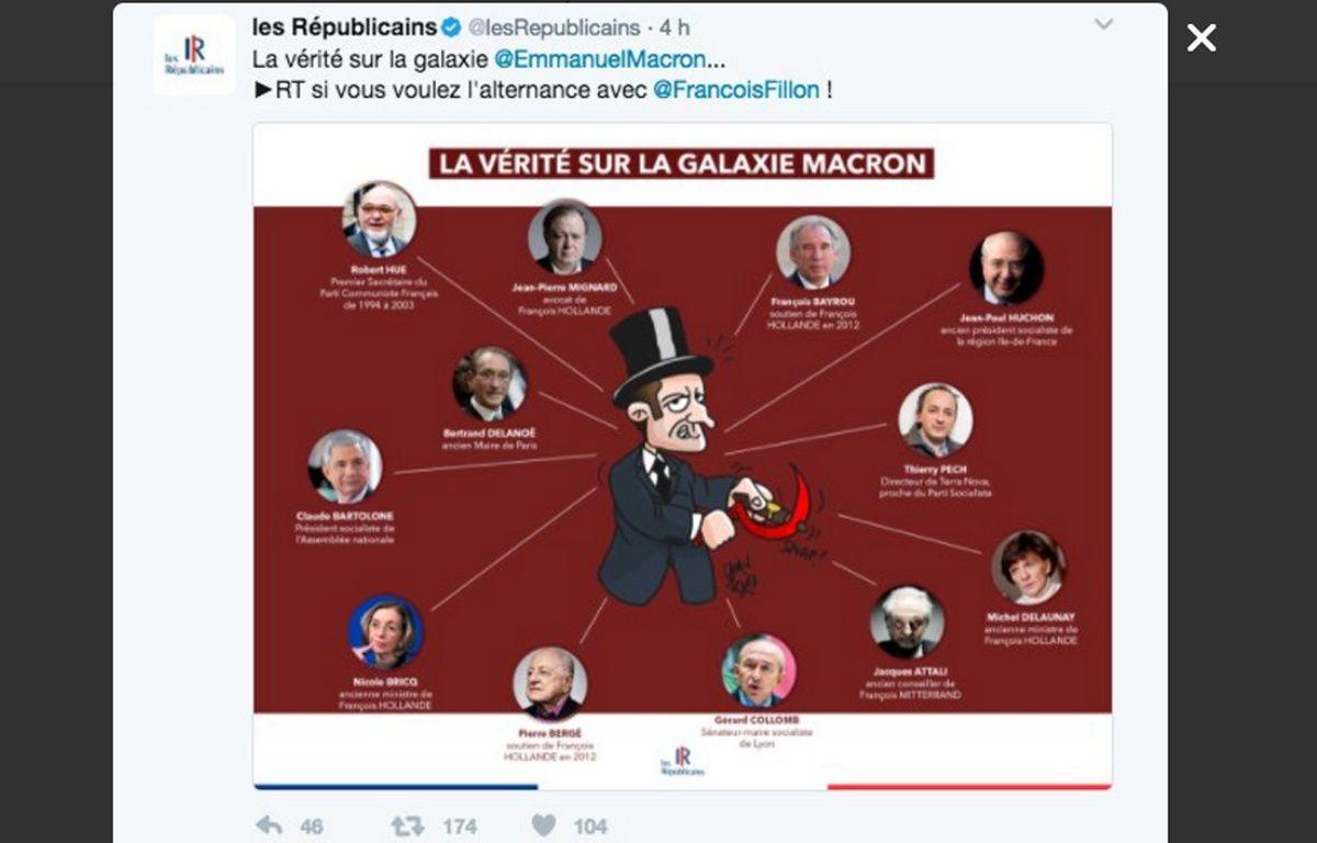 Capture d'écran d'un tweet publié par le compte Twitte du parti Les Républicains le 10 mars 2017, et qui a été retiré dans la journée. – Capture d'écran Twitter Les Républicains