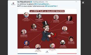 Capture d'écran d'un tweet publié par le compte Twitte du parti Les Républicains le 10 mars 2017, et qui a été retiré dans la journée.