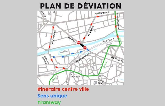 Le plan de déviation pour éviter le pont Villars, à Valenciennes.