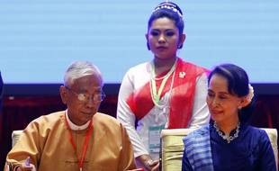 Le président birman Htin Kyaw et Aung San Suu Kyi, le 13 février 2018.