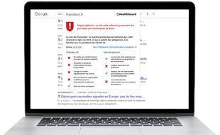 Le service HealthGuard, proposé par NewsGuard évalue la fiabilité des sites d'information sur la santé.