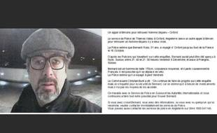 L'avis de recherche concernant l'ex-cadre de l'UEFA, Bernard Ross, diffusé par la police anglaise.