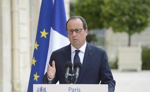 François Hollande, le 30 août à l'Élysée, après la réunion des dirigeants socio-démocrates européens.