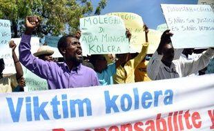 Manifestation de défenseurs des droits de l'Homme et de victimes de l'épidémie de choléra, le 15 octobre 2015 à Port-au-Prince