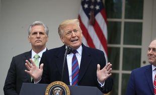 Donald Trump fait un point sur le «shutdown» depuis les jardins de la Maison Blanche, le 4 janvier 2018.