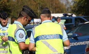 Une opération de contrôle des gendarmes sur les routes d'Ille-et-Vilaine en 2011.
