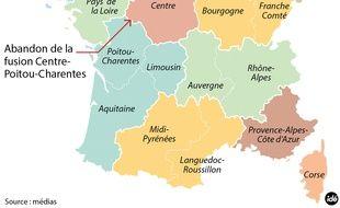 Nouvelle carte du redécoupage des régions françaises