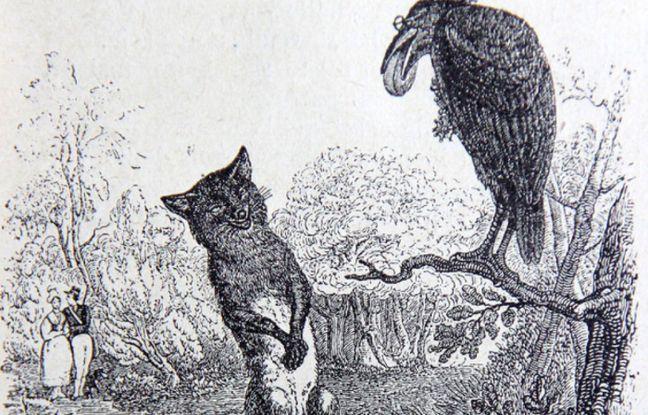 Gravure tirée du Corbeau et le Renard de Jean de La Fontaine