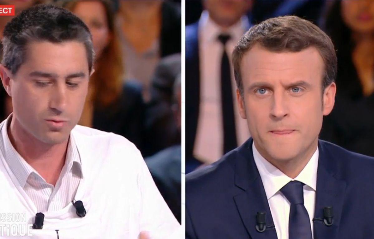 François Ruffin et Emmanuel Macron sur le plateau de «L'Émission politique» sur France 2, le 6 avril. – Capture d'écran / France 2