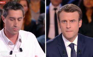 François Ruffin et Emmanuel Macron sur le plateau de «L'Émission politique» sur France 2, le 6 avril.