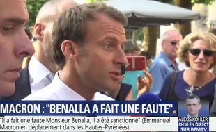 Emmanuel Macron filmé par BFMTV le 25 juillet 2018.