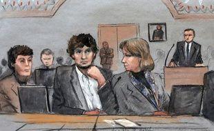 Djokhar Tsarnaev (au centre) lors de son procès à Boston, le 5 mars 2015.