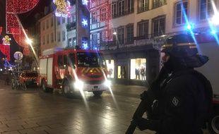 Centre ville confiné et sous haute surveillance mardi soir après l'attaque. Strasbourg le 11 décembre 2018.