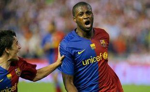 Yaya Touré célèbre un but avec Barcelone, le 13 mai 2009